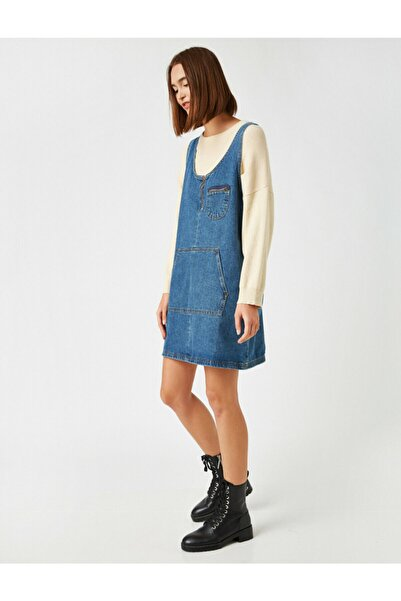 Koton Kadın Mavi Pamuklu Kot Elbise
