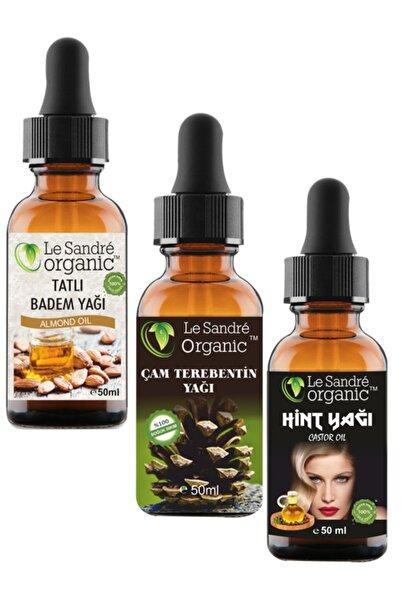 Le'Sandre Organics 3 Lü Set Badem Yağı & Çam Terebentin Yağı & Hint Yağı Saç Bakımı 50 ml