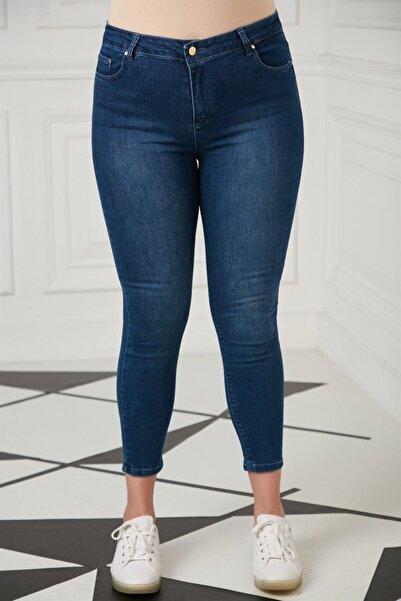 RMG Kadın Lacivert Düğme Detay Büyük Beden Pantolon