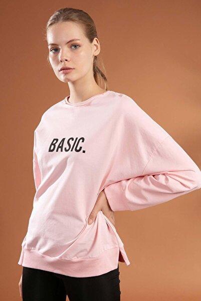 Y-London Kadın Basic Baskılı Boyfriend Örme Sweatshirt Y20w155-6048
