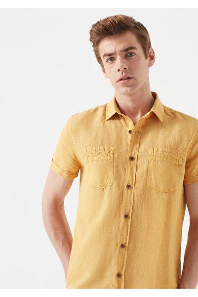 Mavi Erkek Kısa Kollu Sarı Keten Gömlek