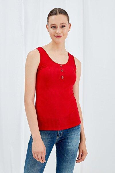 Journey Kadın Kırmızı Ön-Arka U Yaka Kalın Askılı Yarım Patlı Düğmeli Body 19YBDY236