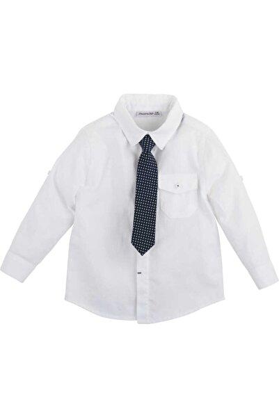 Mamino Erkek Bebek Beyaz Kravatlı Gömlek
