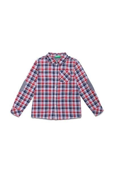 United Colors of Benetton 012 Dirseği Yanalı Ekose Gömlek