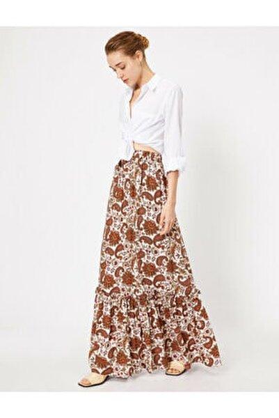 Kadın Kahverengi Desenli Uzun Maxi Etek