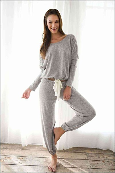 Merry See Kadın Gri Eşofman Pijama Alt Üst Takım