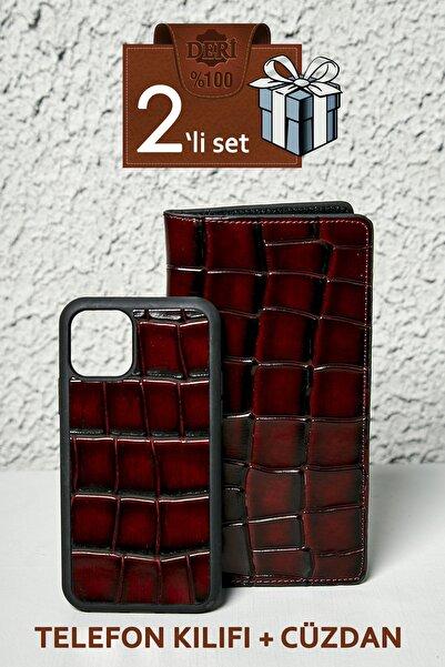 Sateen Men Koyu Kahve Iphone 11 Pro Cüzdan Set