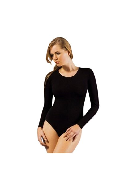 İPEKTENİM Kadın Siyah Yuvarlak Yaka Uzun Kol Çıtçıtlı Body