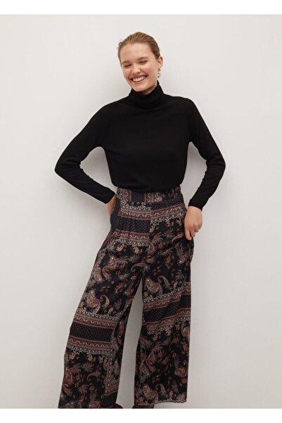 MANGO Woman Kadın Siyah Salaş Pantolon