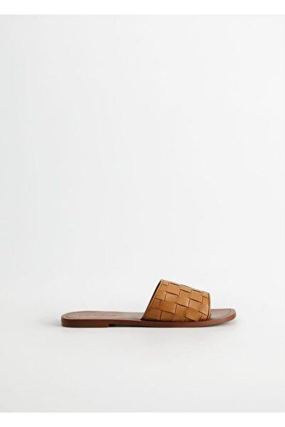 Violeta by MANGO Kadın Orta Kahverengi Deri Örgü Sandalet 67015968