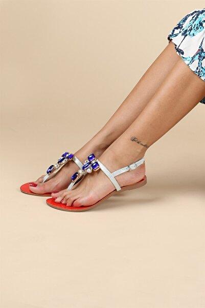 Oblavion Kadın Kırmızı Mavi Taşlı Sandalet