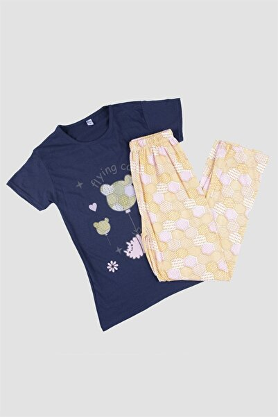 Oblavion Kadın Lacivert Kısa Kollu Pijama Takımı