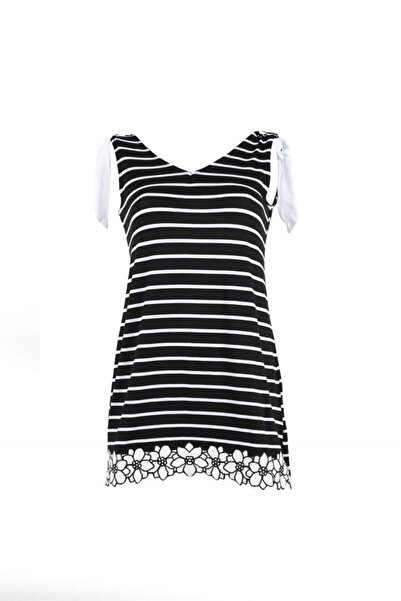 Oblavion Kadın Siyah Beyaz Çizgili Tunik