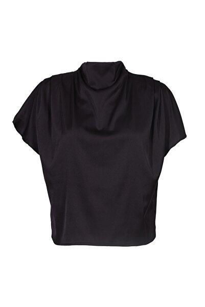 Keikei Kadın Siyah Örme Kısa Kol Bluz