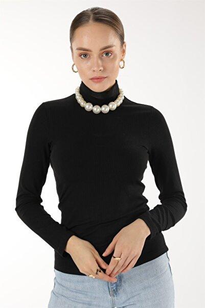 Oblavion Kadın Siyah Yarım Balıkçı Kaşkorse Bluz