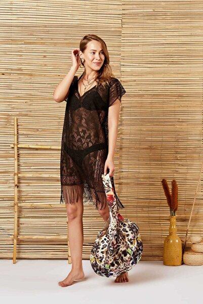 MODAFABRİK Kadın Siyah Plaj Elbisesi