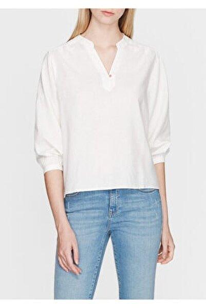 Kadın Keten Karışımlı Beyaz Bluz 122225-28289