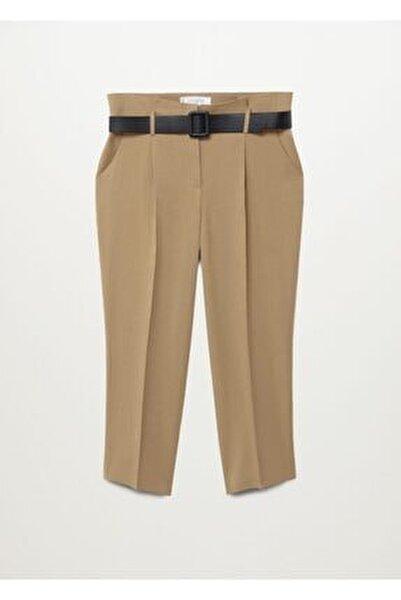 Kadın Bej Daralan Kısa Paçalı Pantolon 77067110