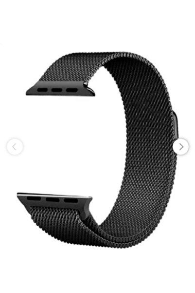 Techmaster Apple Watch 2 3 4 5 Için 38 40mm Metal Hasır Tme Kordon Siyah