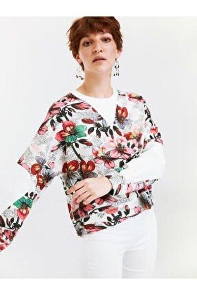 Kadın Bej Çiçek Desen Oversize Sweatshirt