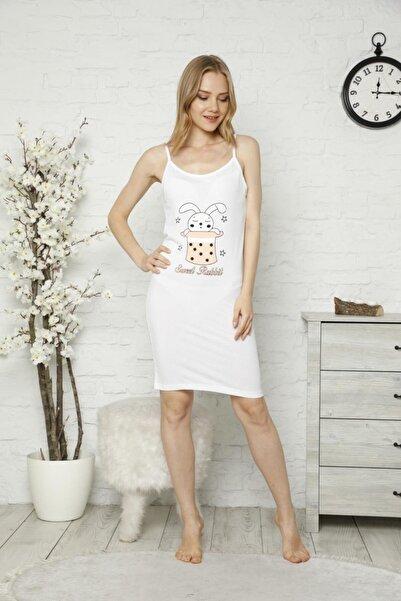 TENA MODA Kadın Beyaz Ip Askılı Tavşan Baskılı Gecelik Pijama