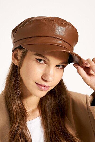 Y-London 13524 Deri Kasket Taba Şapka