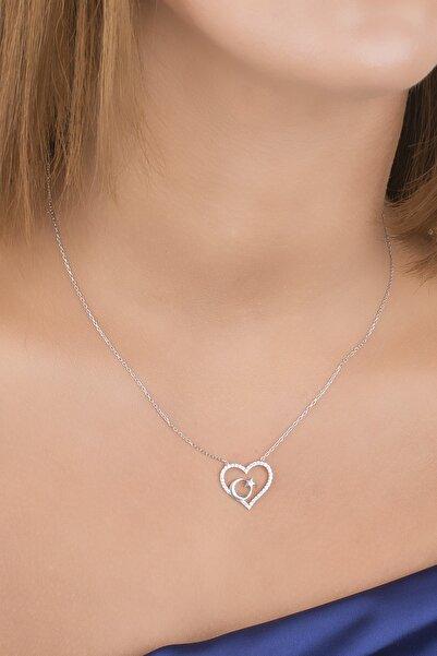 Diversity Jewelry Kadın Gümüş Zirkon Taşlı Ayyıldızlı Kalp Kolye
