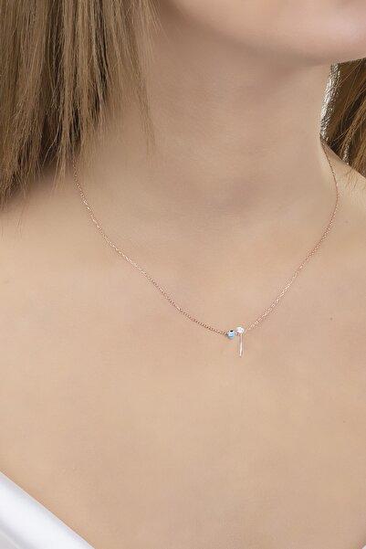Diversity Jewelry Kadın 925 Ayar Gümüş Nazar Boncuklu Rose I Harfi Kolye