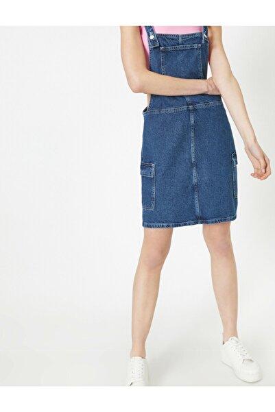 Koton Kadın Mavi Cep Detayli Kolsuz Midi Jean Elbise