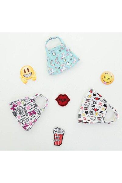 mamu mini Gots Sertifakalı Organik Pamuk Kız Çocuk 8-12 Yaş - 3'lü Set - Desenli Yıkanabilir Maske