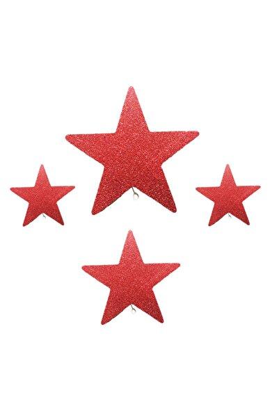 Cansüs 4 Parça Köpük Yıldız Yılbaşı Cam Tavan Süsü Kırmızı