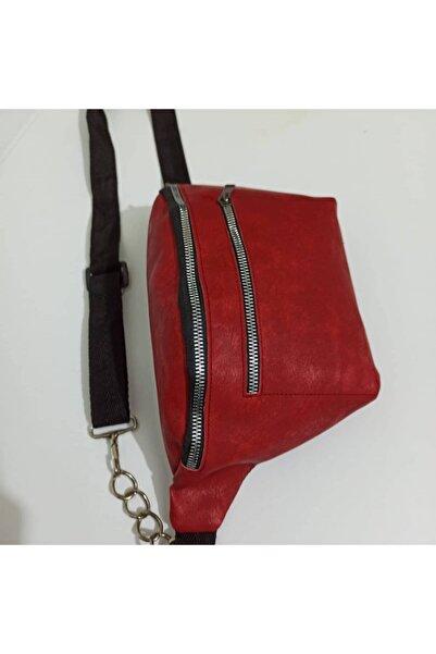 Ruyambutik Kadın Kırmızı Zincir Detay Çanta