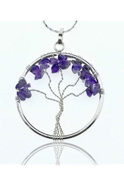 Kızlarağası Gümüş Tel Sarmalı Hayat Ağacı Ametist Doğaltaş Kolye