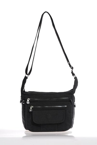 SMART BAGS Kadın Siyah Krinkıl Kumaş Çapraz Çanta 3005