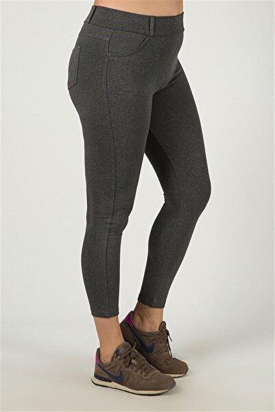 Siyezen Kadın Gri Cep Detaylı Tayt Pantolon