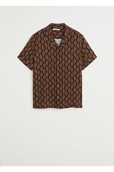 MANGO Man Erkek Turuncu Dökümlü Desenli Gömlek