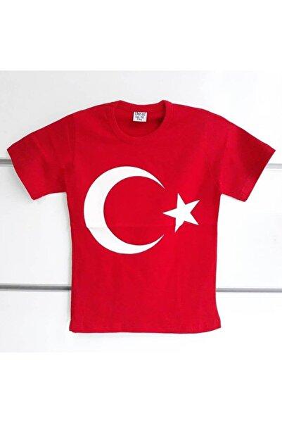 bebegen Erkek Çocuk Kırmızı Ay Yıldız Kısa Kollu Bayrak T-shirt