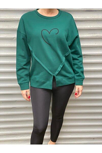 NİCE Kadın Koyu Yeşil Kalp Baskılı 3 Iplik Şardonlu Sweatshirt