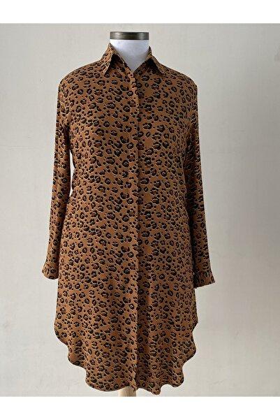 Loren Kadın Kahverengi Büyük Beden Uzun Tunik