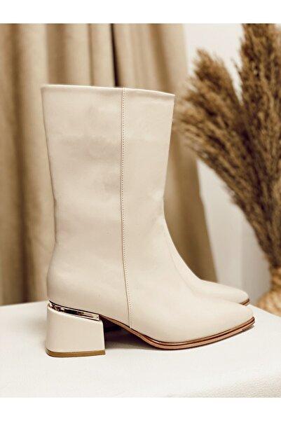 Nil Shoes Kadın Ten Cilt Nely Topuk Detaylı Bot