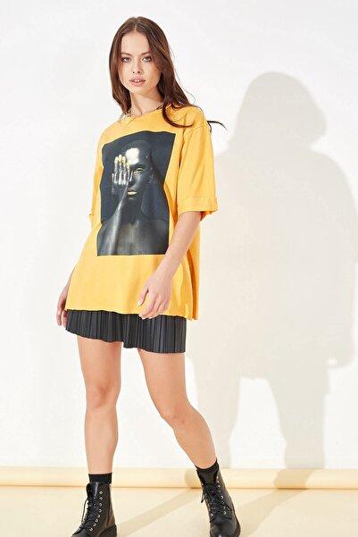 Arma Life Kadın Hardal Kız Baskılı T-shirt