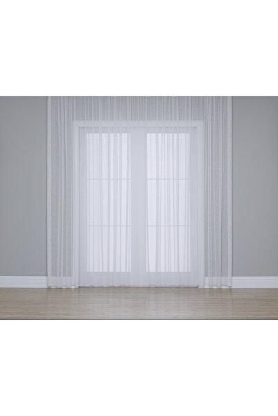 Gauze Fabric Design Hazır Dikilmiş Sade Ve Zarif Ince Şantuklu Yarı Parlak Ekru Tül Perde (400 X 260 / Orta Pile)
