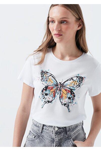 Mavi Kelebek Baskılı Beyaz Tişört