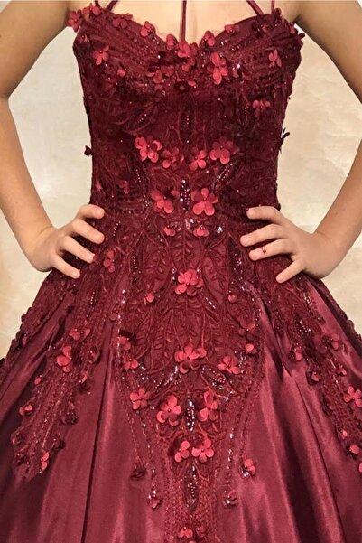 MİLLA Wedding Dress Kadın Bordo 3 Boyutlu Taşlı Nişanlık