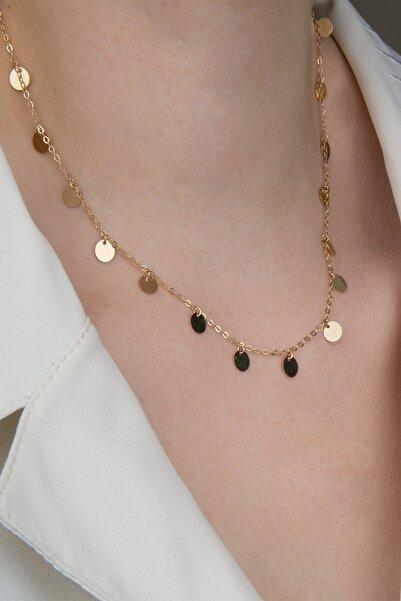 Milades Kadın 14 Ayar Altın Pullu Kolye