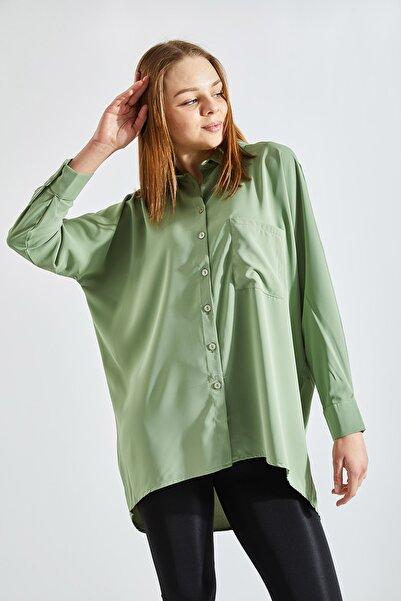 Zafoni Kadın Cepli Yeşil Gömlek