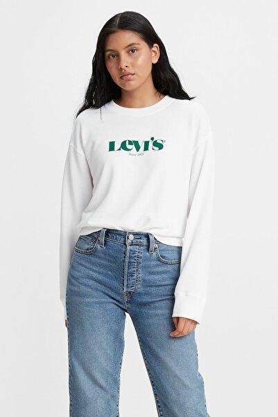 Levi's Kadın Beyaz Sweatshirt Yeşil Logolu -18686-0017