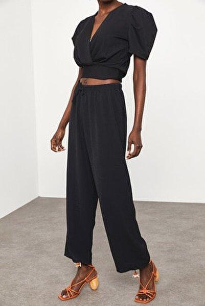 Kadın Siyah Salaş Keten Pantolon 1KZK5-11605-02