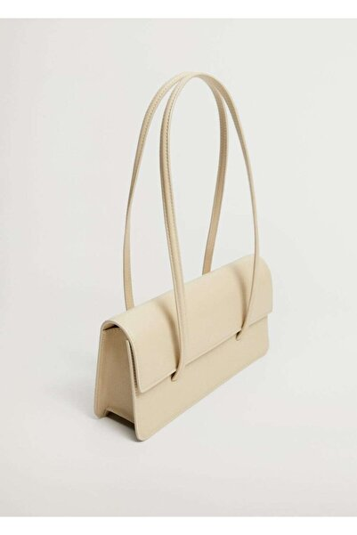 MANGO Woman Kadın Beyaz Sert Baguette Çanta
