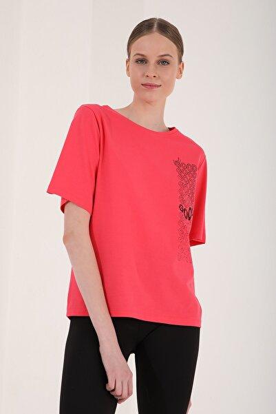 Tommy Life Kadın Rose Deforme Yazı Baskılı Oversize O Yaka T-shirt - 97134